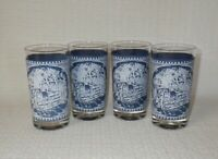 """Royal China CURRIER & IVES 4 3/4"""" Glass Tumblers ~ Set of 4"""
