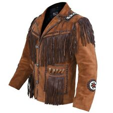 Mens Western Wear Suede Leather Jacket Coat Beads & Fringes Indian traditional