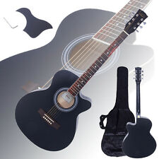 "New 40"" Adult 6 Strings Cutaway Folk Acoustic Guitar Black with Bag"