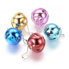 5pcs Mixed Color Round Brass Star Bell Pendants For Christmas Gift Xmas DIY