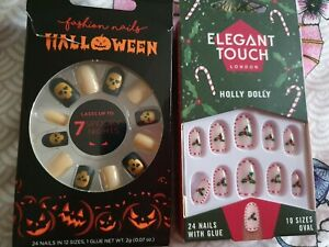 Halloween And Christmas Nails With Glue