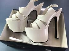 """Pleaser White Patent Leather 7"""" High Heel Shoes Pole Dance Fetish Size 11 US Box"""