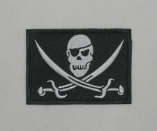 New Airsoft US BDU Punisher Patch Arm-Badge Skeleton With Hook Back White&Black