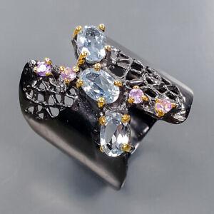 Handmade Design Blue Topaz Ring Silver 925 Sterling  Size 6.5 /R176596