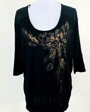 Miss Me Embellished Lace Top Raglan Sleeve Black Womens Size L