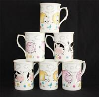 SET OF 6 FINE BONE CHINA FUNNY  FARMYARD ANIMAL NOVELTY MUGS CUPS  XMAS GIFT SET