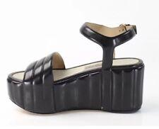 NIB $1190 Salvatore Ferragamo Black Malika Platforms Leather Sandals Size 8M