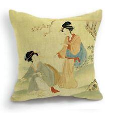 Retro Style Kimono Two Japanese Woman Geisha Pillow Case Cushion Cover 18''