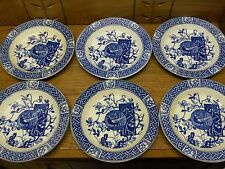 "6 Antique Blue Transfer Rimmed Bowls - 8"" - Minton - Faisan - 1880"