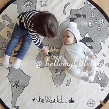 Kids World Map Baby Round Carpet Playing Mat Crawling Rug Cushion Home Decor
