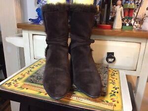 Stuart Weitzman Sz11M brown suede  Faux Fur Womens Ladies Ankle Boots Shoes