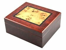 Walnut  Finish With Light Mappa Wood Inlay Spanish Cedar Humidor Holds 50 Cigar