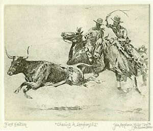 "Edward Borein Longhorn Etching ""Chasing A Longhorn No.2"" 1st  (Davidson) 2  left"