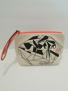 Vintage 80's Abstract Art  Shiseido Makeup Cosmetic Pouch Orange Lining/Zipper