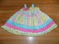 Infant Size 3-6 Months Bonnie Baby Gingham Checked Sundress Sun Dress Lime Pink