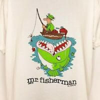 Fishing T Shirt Vintage 80s Mr Fisherman Fish Eats Man 50/50 Made In USA Size XL