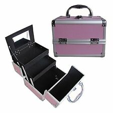 "8"" Pro Aluminum Makeup Train Case Jewelry Box Cosmetic Organizer PINK New"