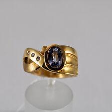 Safir Goldring Gelbgold 750 Ring Größe 57,5 Saphir Brillant Handarbeit