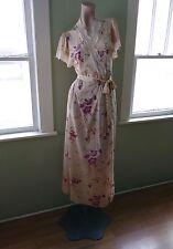 VTG 1970s Robe 70 Floral Print 1940s Style Wrapper Tom Bezduda for Barad Sz S