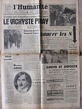 L'Humanité - (4 mars 1952) Beautor - Avion Nice-Paris m. Veerly - Vichyste Pinay