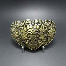 Western Decor Antiqued Bronze Plated Triple Heart Belt Buckle