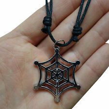Spider Web Pendant Chain Necklace Choker Silver Tone Spiders Charm Mens Womens