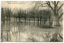 CARTE POSTALE PARIS CRUE DE LA SEINE 29 JANVIER 1910 AV DES CHAMPS ELYSEES