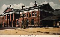Postcard Union Depot Railroad Train Station in Richmond, Indiana~123421