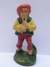 PRESEPIO PRESEPE vecchia statuina ragazzo che suona flauto