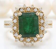 4.26 Quilate Natural Africano Emerald & Diamonds en 14K Oro Amarillo de Mujer