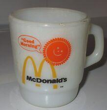 Vntge Good Morning McDonald's Fire King Mug Coffee Cup Anchor Hocking Milk Glass
