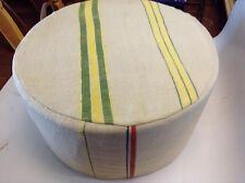 Moroccan Handwoven Kilim Wool Round Ottoman Pouf Seat Beige