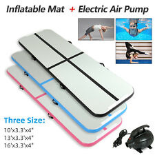 10-16FT Inflatable Airtrack Gymnastics Tumbling Mat Training Gym Home w/ Pump