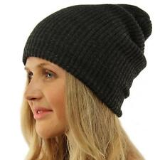 Winter Made in USA 2ply Stretch Knit Slouch Long Beanie Skully Ski Hat Charcoal