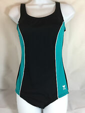 TYR Aqua Tank Panel & Piping ATPC Swimsuit Size 12 in Black/Green