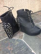 Womens Black Studded Platform Boots/Booties Size 8.5