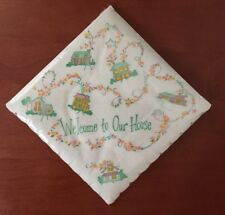 Vtg Mid-Century FINER THING Welcome to Our House PAPER NAPKINS Bridge Size 25 Ct