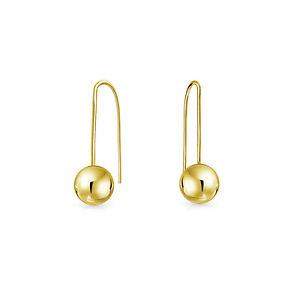 Minimalist Drop Ball Threader Earrings For Women Real 14K Yellow Gold