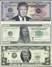 DONALD TRUMP FOR PRESIDENT 2016 + QUEEN HILLARY & CLINTON SEX $ NOVELTY BILLS!