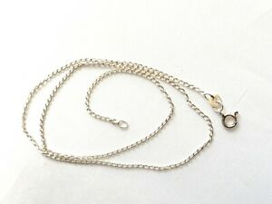 Sterling silver curb chain necklace 16 inches 1mm 1.8g