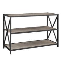 "40"" X-Frame Metal and Wood Media Bookshelf - Barnwood"