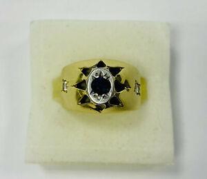 Ring, Gold 585, mit Zirkonia und Saphir Stein, 5g, Ringgröße 58  (44057)