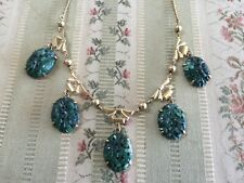 Antique Vintage gold filled necklace with carved jade? medallions~drops by Amco
