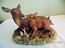 Masterpiece Porcelain Homco Mother Deer With Fawn Figurine 1979 Signed Mizuno