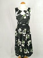 Ladies Dress Size 14 DPs Black White Fit and Flare Smart Party Evening