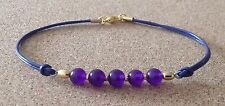 AMETHYST Beads, Purple Leather Cord, Gold Tone Plated, Charm Friendship Bracelet