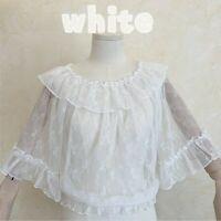 Lady Girls Lolita Blouse Shirt Tops Mesh Lace Chiffon Ruffle Sleeve Retro Cute