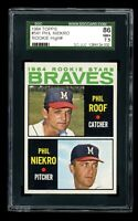 1964 Topps Baseball #541 Phil Niekro Rookie Milwaukee Braves SGC 7.5 NM+ - ID008