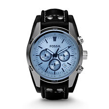 FOSSIL CH2564 Coachman Chronograph Blue Dial Leather Strap 44mm Men's Watch