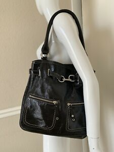 Cole Haan Black Patent Leather Hobo Satchel Tote Bag